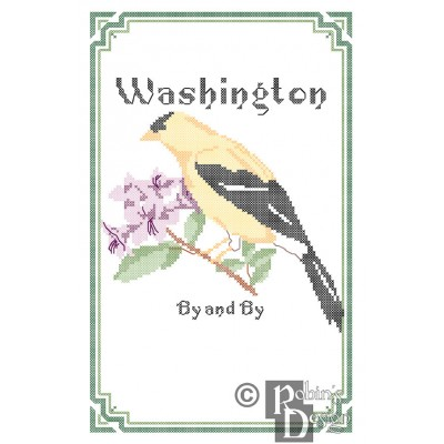 Washington State Bird, Flower and Motto Cross Stitch Pattern PDF Download