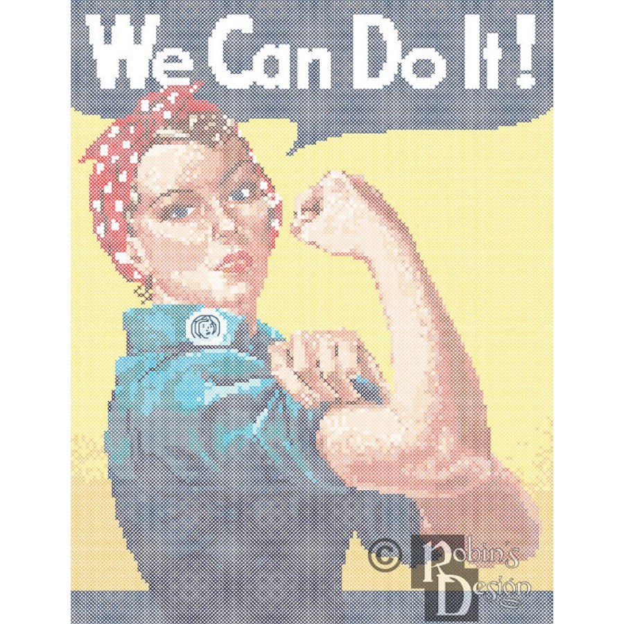We Can Do It Poster Reproduction Cross Stitch Pattern PDF Download