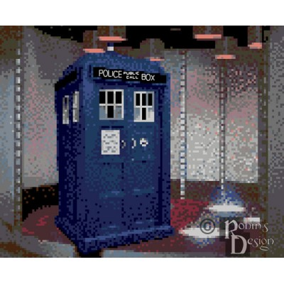 When Sci Fi Shows Collide, The TARDIS in the Transporter Room Cross Stitch Pattern PDF Download