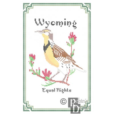 Wyoming State Bird, Flower and Motto Cross Stitch Pattern PDF Download