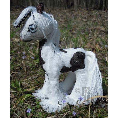 Zachy the Gypsy Vanner Horse Doll 3D Cross Stitch Animal Sewing Pattern PDF Download
