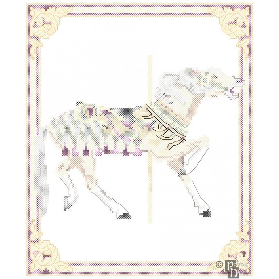 Carousel Horse Cross Stitch Pattern Herschell-Spillman PDF Download