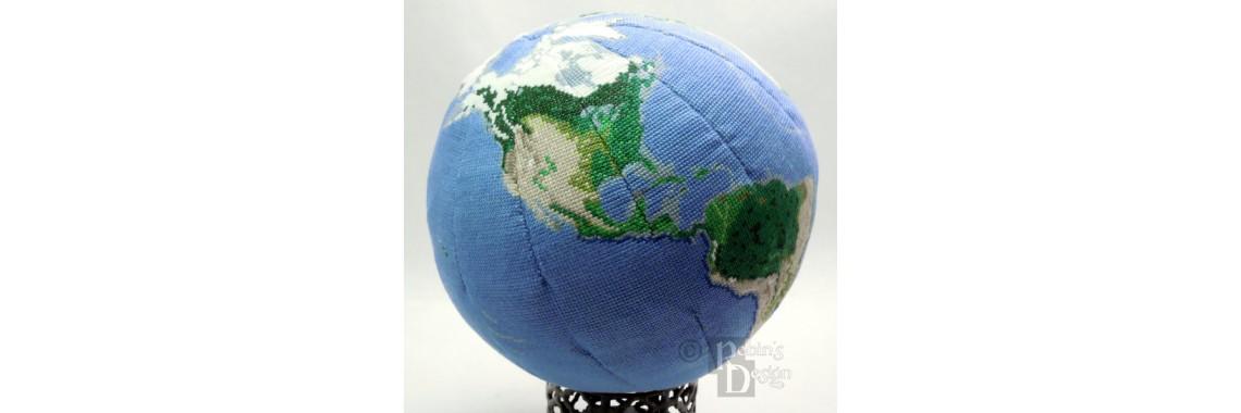 Earth Globe Cross Stitch Pattern