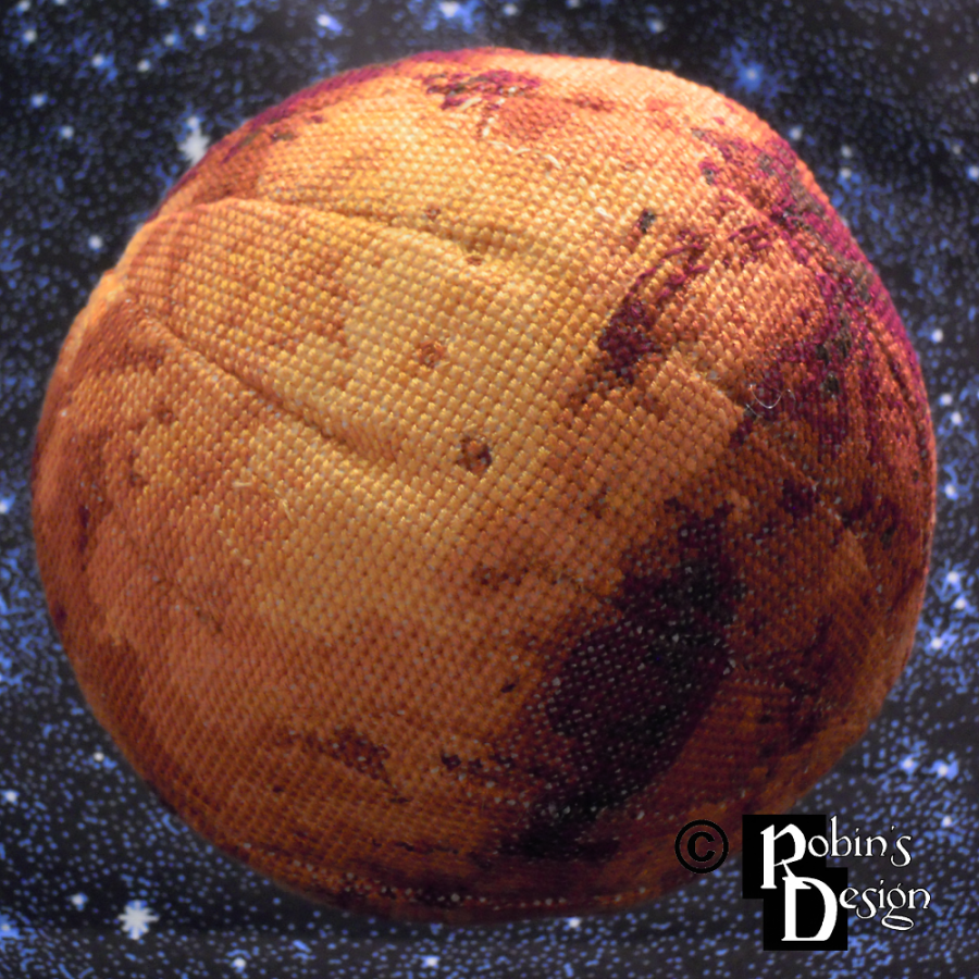 Mars Globe 3D Cross Stitch Sewing Pattern PDF Download