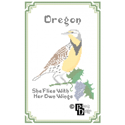 Oregon State Bird, Flower and Motto Cross Stitch Pattern PDF Download