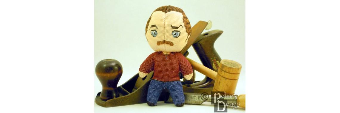 Ron Swanson Cross Stitch Doll Pattern