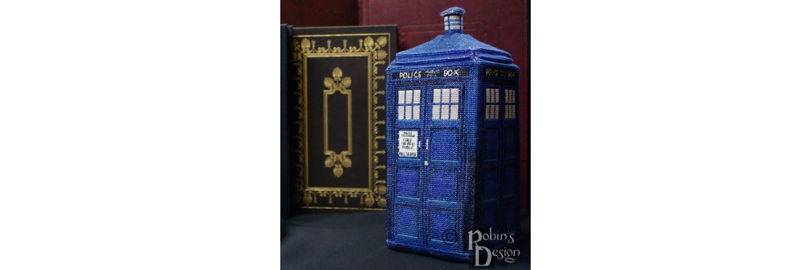 TARDIS Sculptural Cross Stitch Pattern
