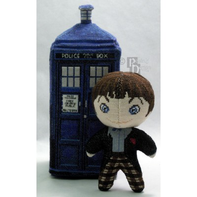 The Second Doctor Doll in Black and White 3D Cross Stitch Sewing Pattern PDF Download