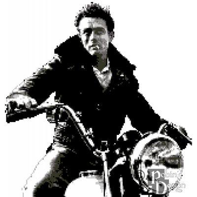 James Dean on a Motorcycle Cross Stitch Pattern PDF Download