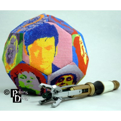 The Many Faces of the Doctor Hexakaidecahedron d16 Cross Stitch Sewing Pattern PDF Download
