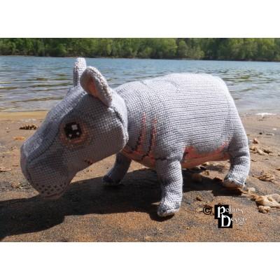 Hambletonian the Hippo Doll 3D Cross Stitch Animal Sewing Pattern PDF Download