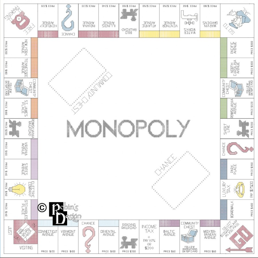 Monopoly Game Board Cross Stitch Pattern PDF Download