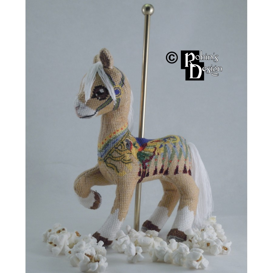 Collins the Palomino Carousel Horse Doll 3D Cross Stitch Animal Sewing Pattern PDF Download