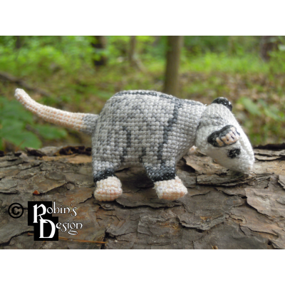 Plop the Baby Virginia Opossum Doll 3D Cross Stitch Animal Sewing Pattern PDF Download