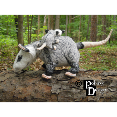 Virginia Opossum Family Dolls 3D Cross Stitch Animals Sewing Patterns PDF Download