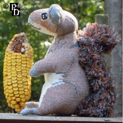 Merlin the Gray Squirrel Doll 3D Cross Stitch Animal Sewing Pattern PDF Download