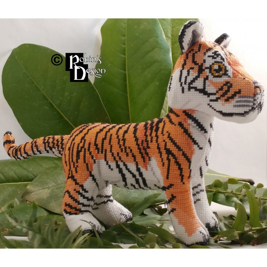 Hobbs the Bengal Tiger Doll 3D Cross Stitch Animal Sewing Pattern PDF Download
