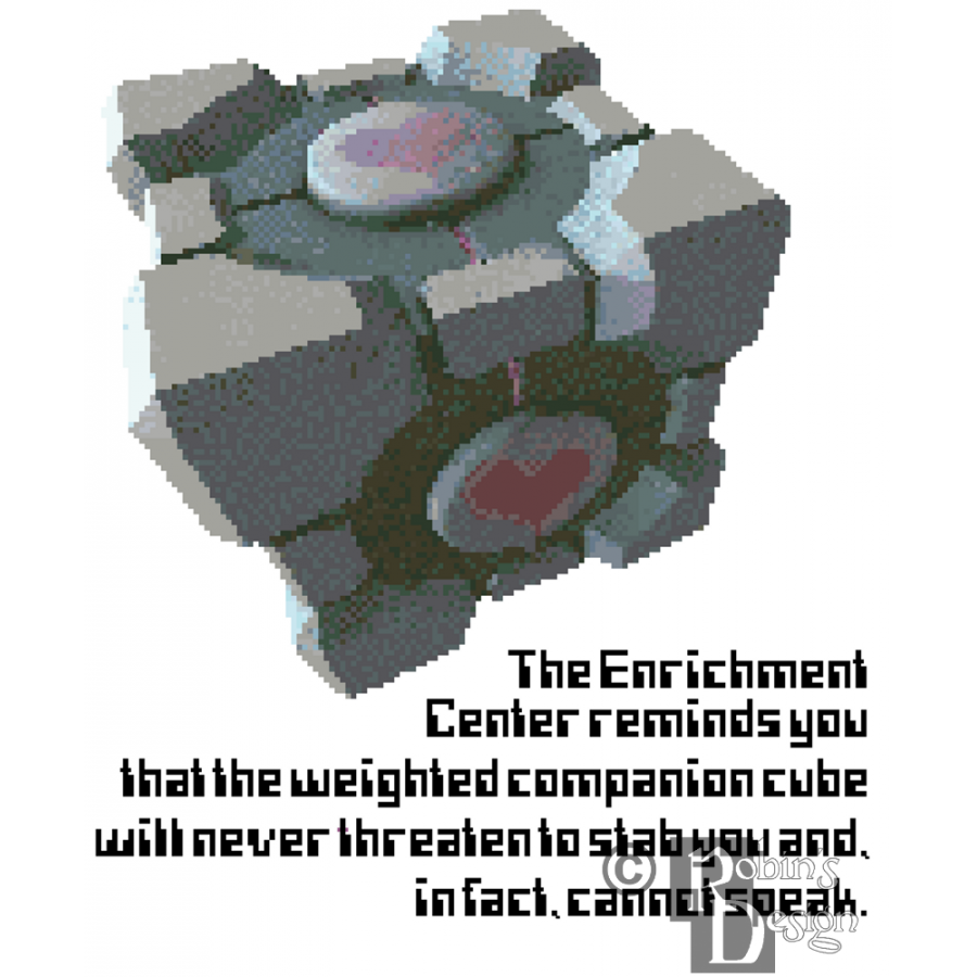 Weighted Companion Cube Cross Stitch Pattern PDF Download