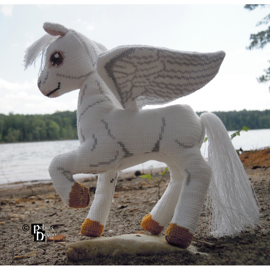 Aeos the Winged Horse Doll 3D Cross Stitch Animal Sewing Pattern PDF Download