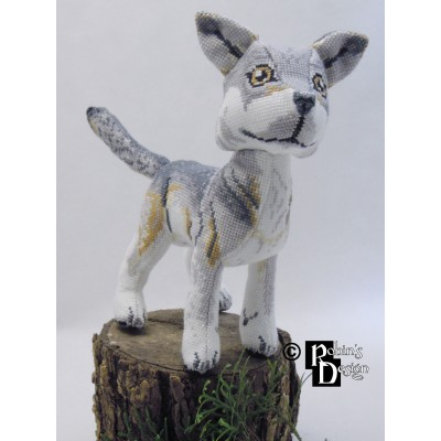 Nighteyes the Gray Wolf Doll 3D Cross Stitch Animal Sewing Pattern PDF Download